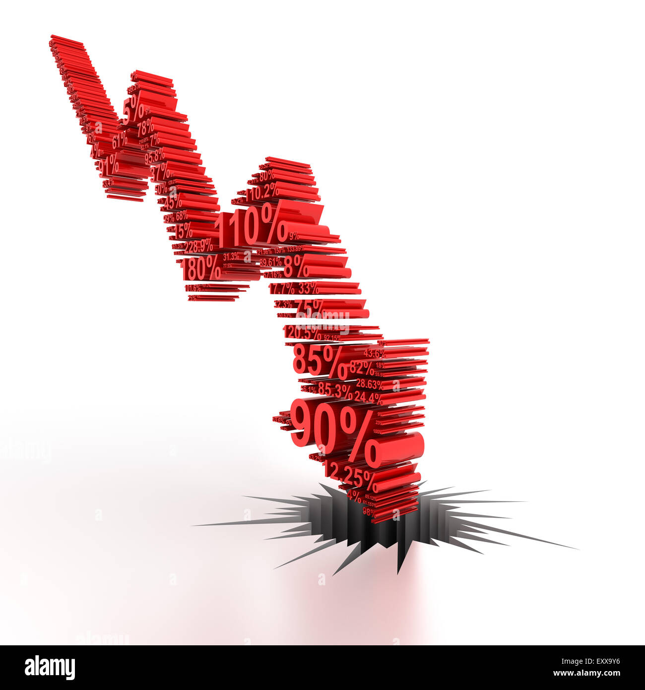 3d downward arrow formed by numbers - Stock Image