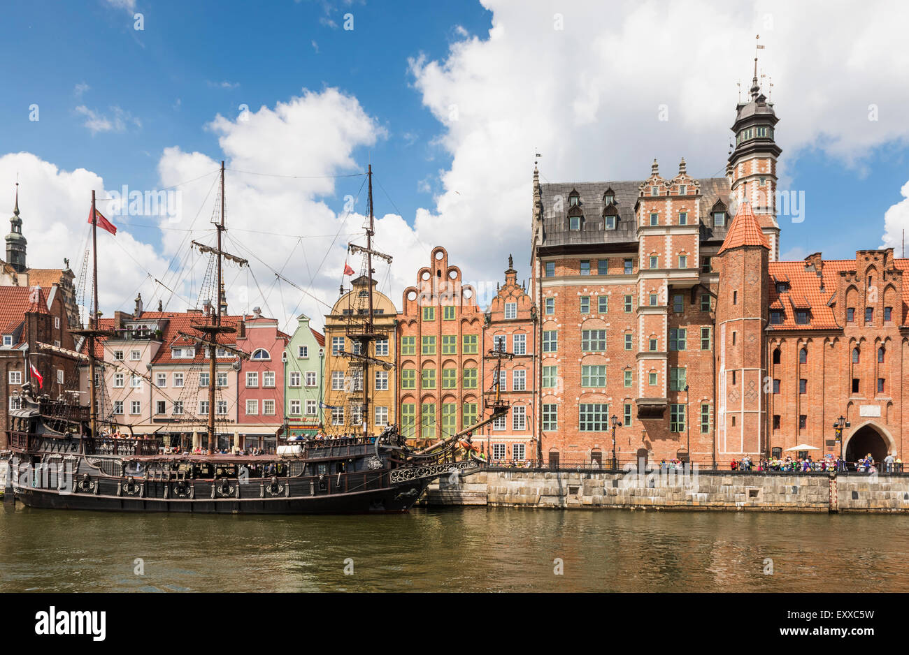 Historic sailing ship moored in Gdansk old town or Stare Miasto on the banks of the River Motlawa, Poland, Europe - Stock Image