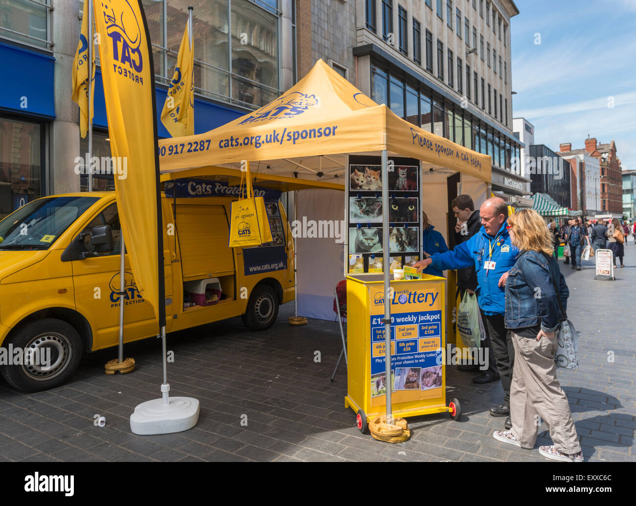 Cats Protection animal welfare charity stand in a city street, England, UK - Stock Image