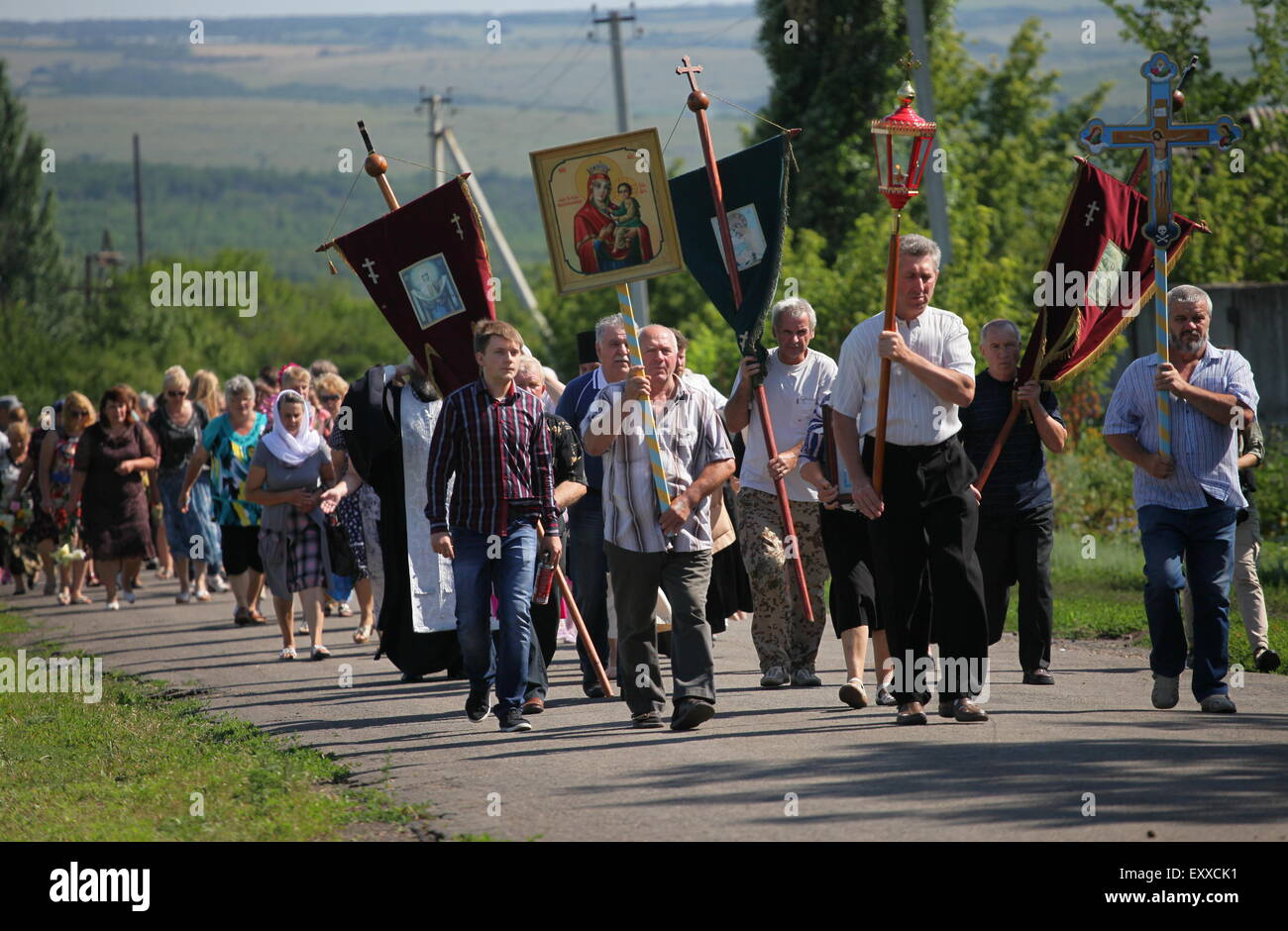 Donetsk Region, Ukraine. 17th July, 2015. Local residents attend the commemorative events in memory of the people, Stock Photo