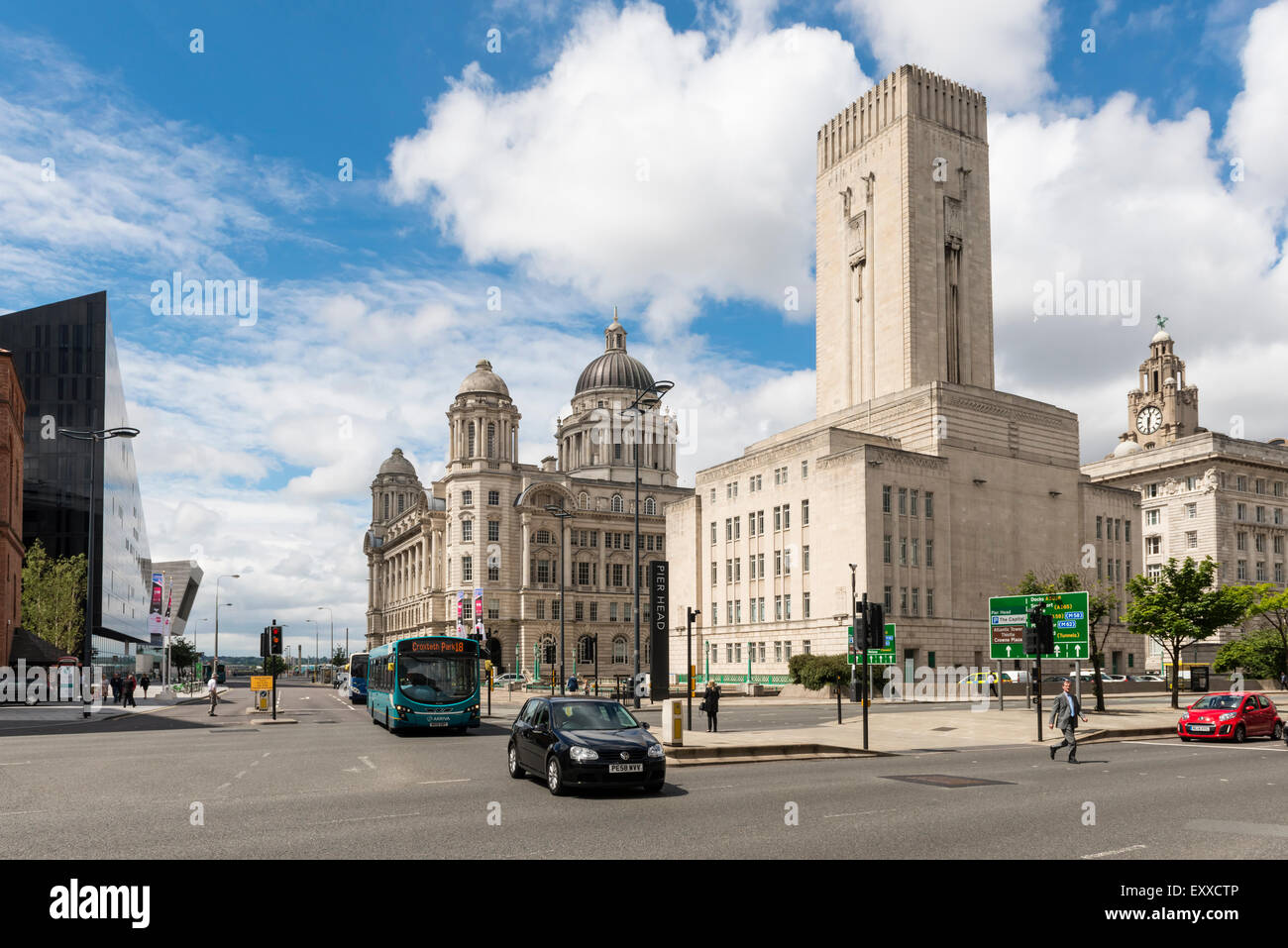 Historic buildings in the city centre of Liverpool, UK - Stock Image