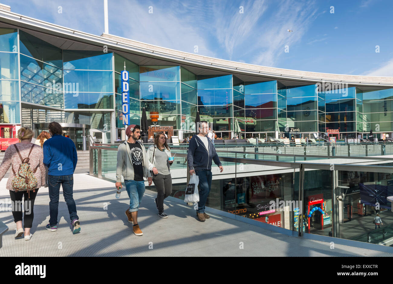 Open air shopping in Liverpool One, Liverpool, Merseyside, England, UK - Stock Image