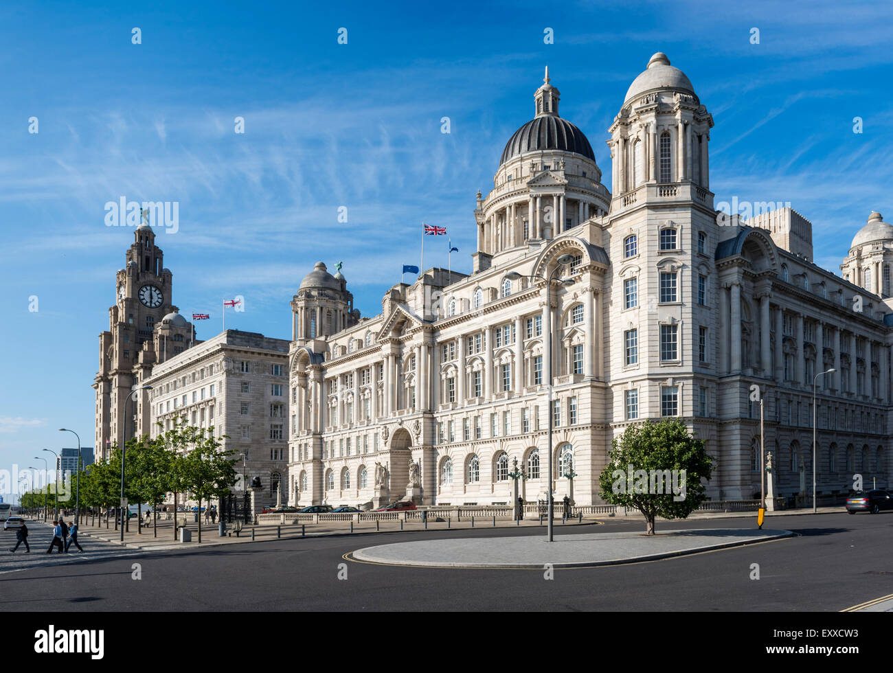 The Port of Liverpool Building, known as the Dock Office, a listed building in Liverpool, England, UK on the waterfront - Stock Image