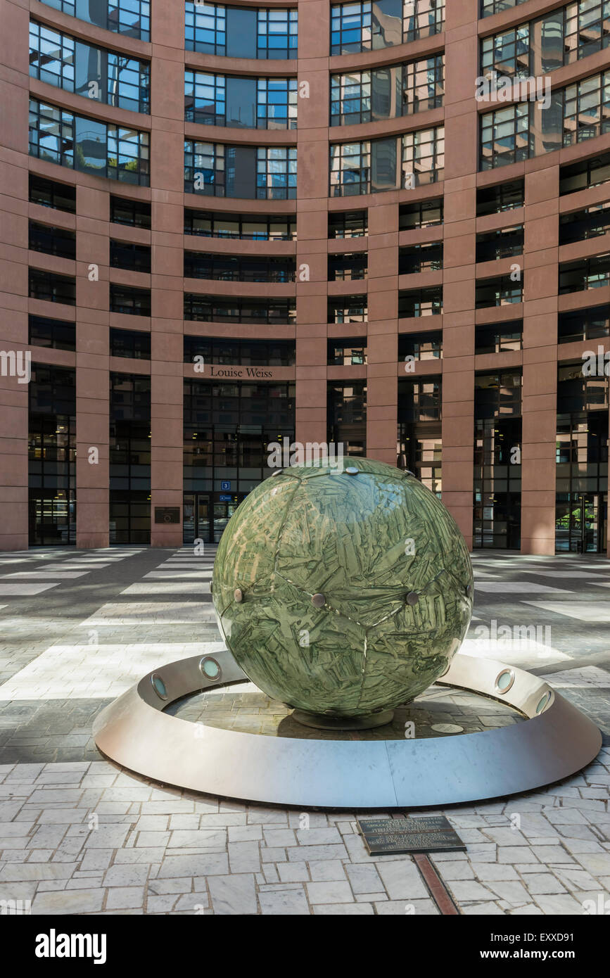 Courtyard inside the European Parliament building, Strasbourg, France, Europe - Stock Image