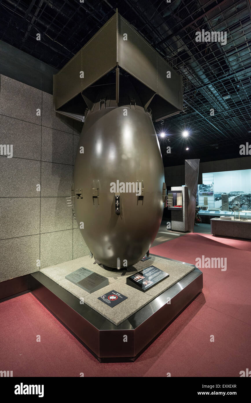 A full-size Mock up of the Plutonium Atomic Bomb 'Fat Man' dropped on Nagasaki in The Nagasaki Atomic Bomb - Stock Image