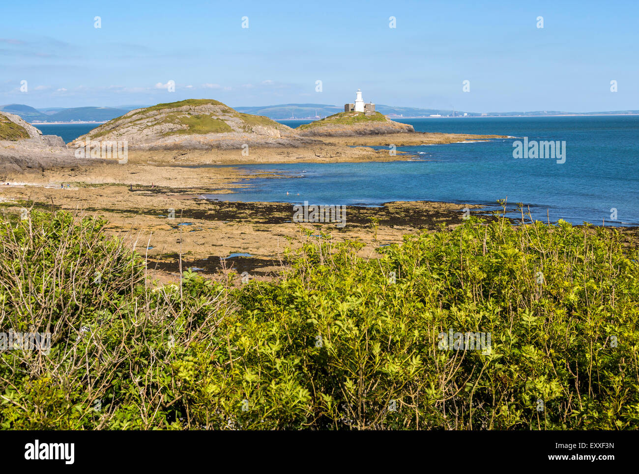 Lighthouse at Mumbles Head, Gower peninsula, near Swansea, South Wales, UK - Stock Image