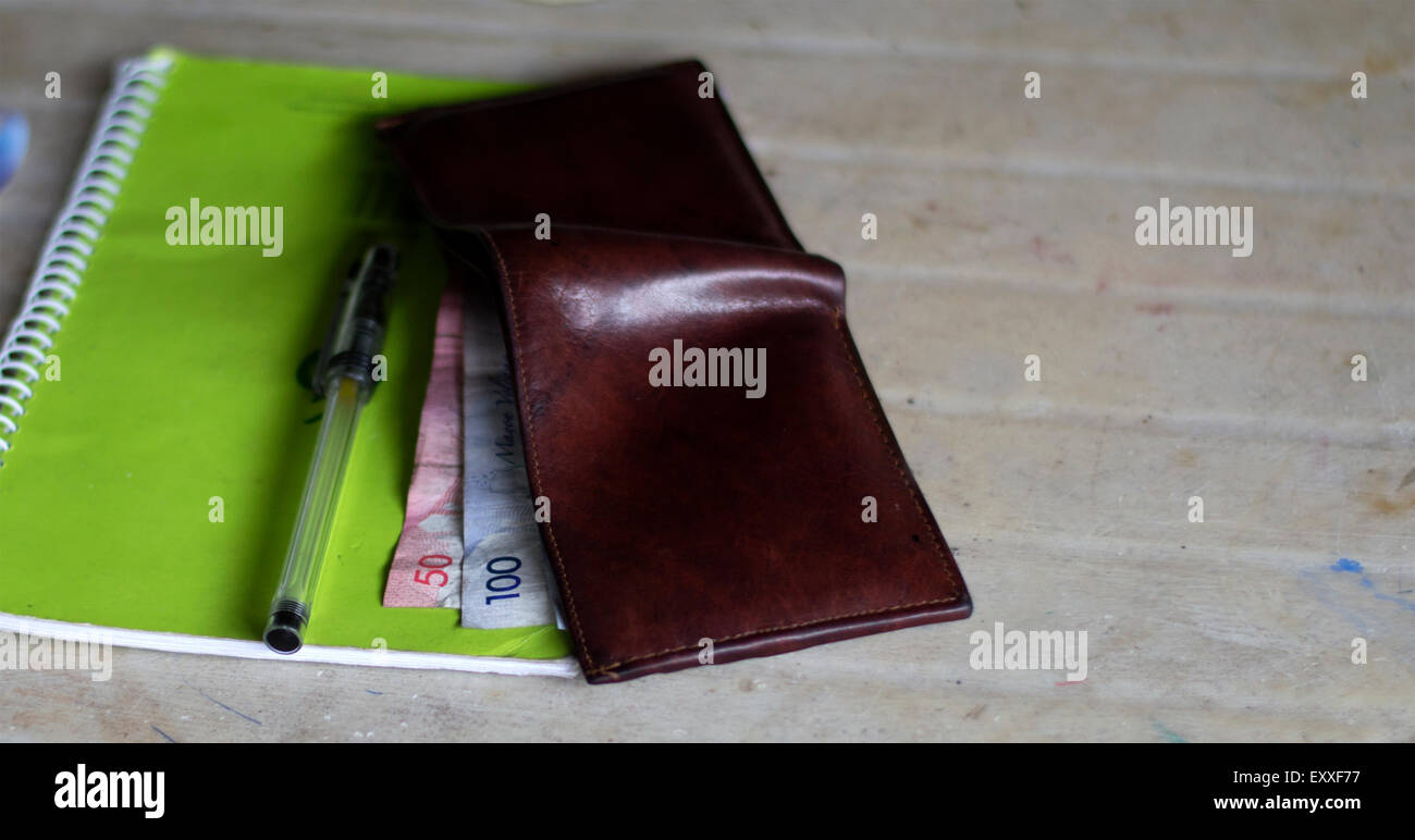 Bills On Wallet For Budgeting - Stock Image
