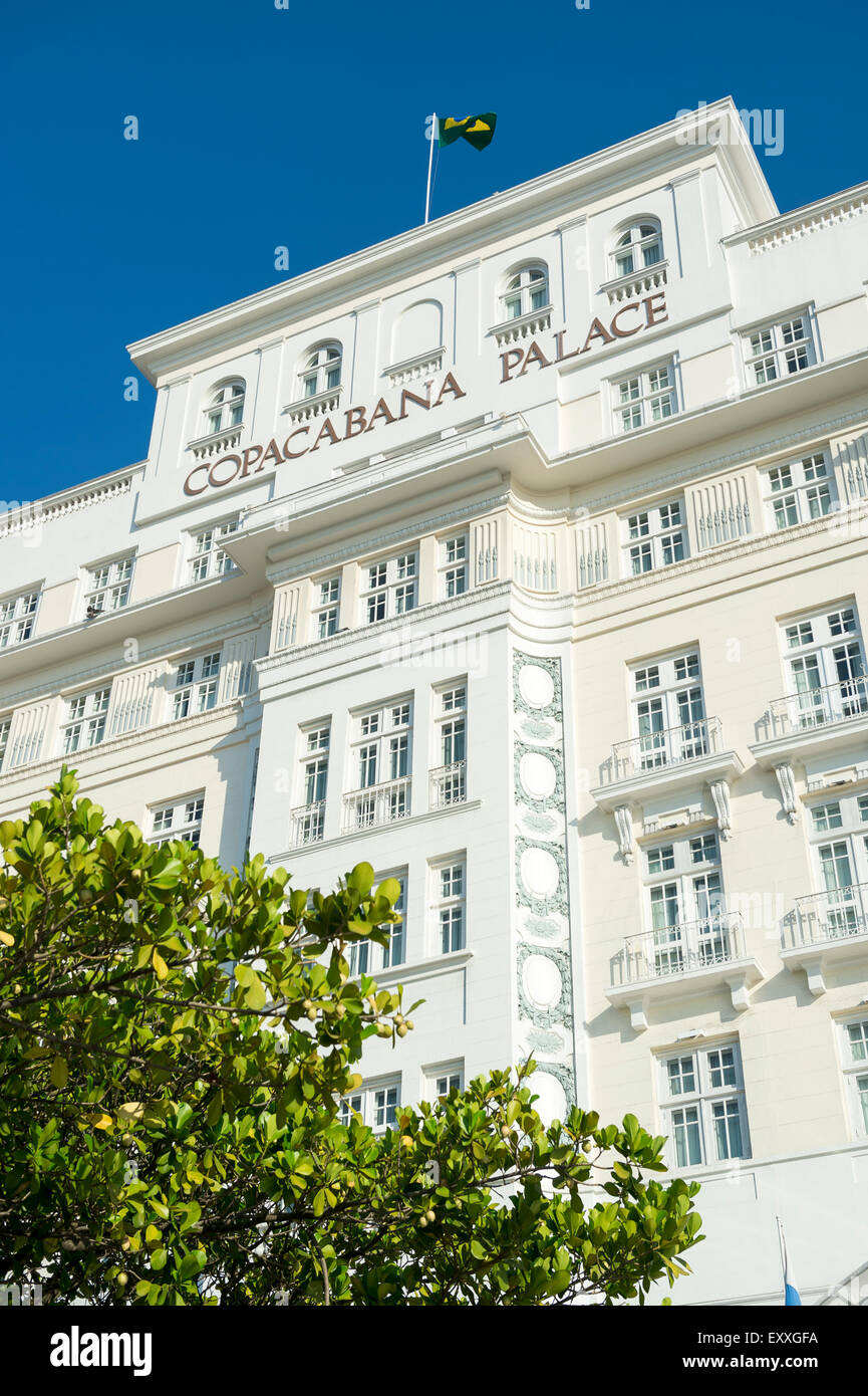 RIO DE JANEIRO, BRAZIL - FEBRUARY 11, 2014: Facade of the Copacabana Palace Hotel, built in the 1920s in French - Stock Image
