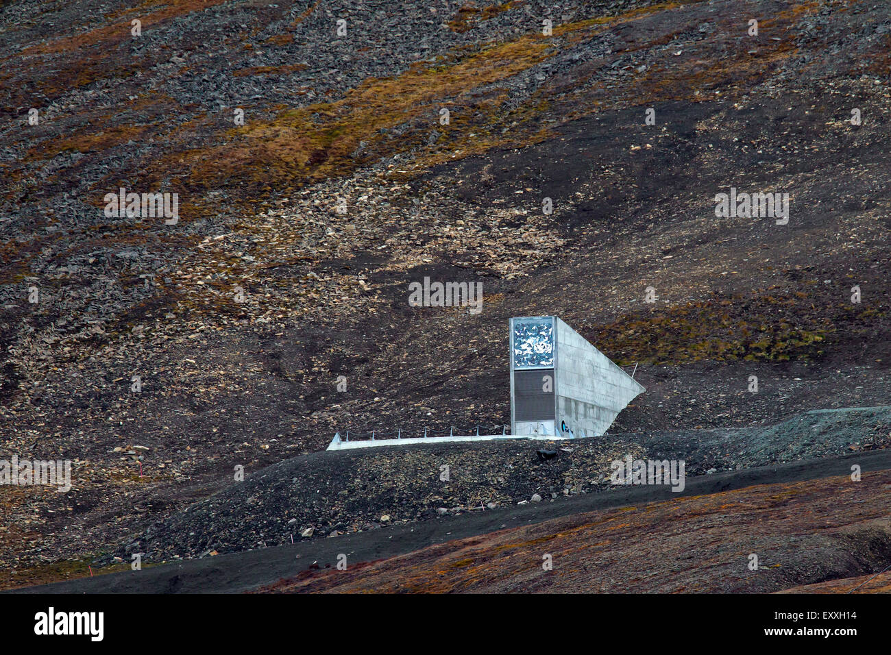 Entrance to the Svalbard Global Seed Vault, largest seed bank in the world near Longyearbyen on the island of Spitsbergen Stock Photo
