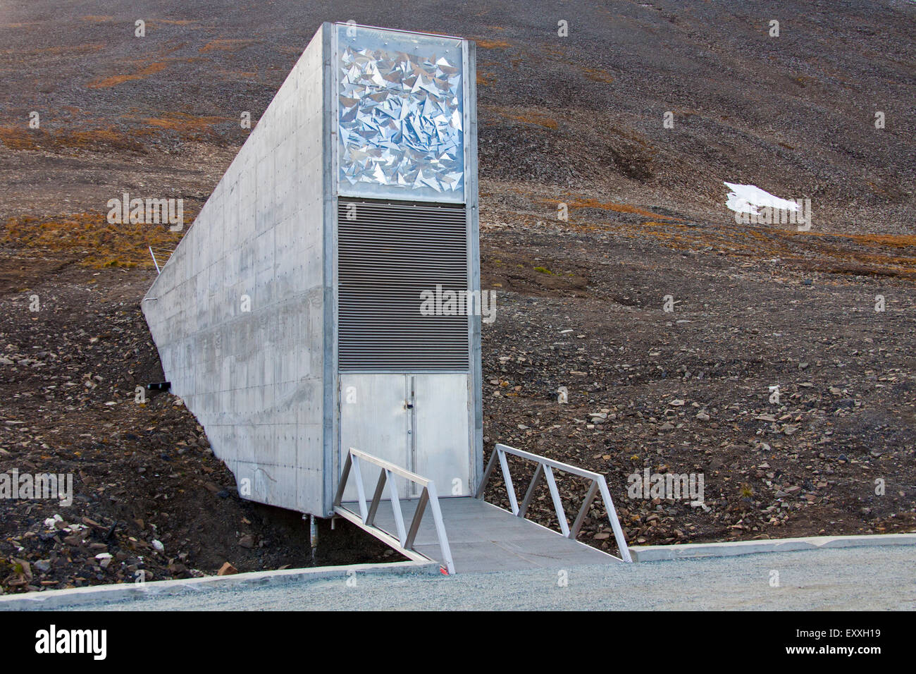 Entrance to the Svalbard Global Seed Vault, largest seed bank in the world near Longyearbyen on the island of Spitsbergen - Stock Image