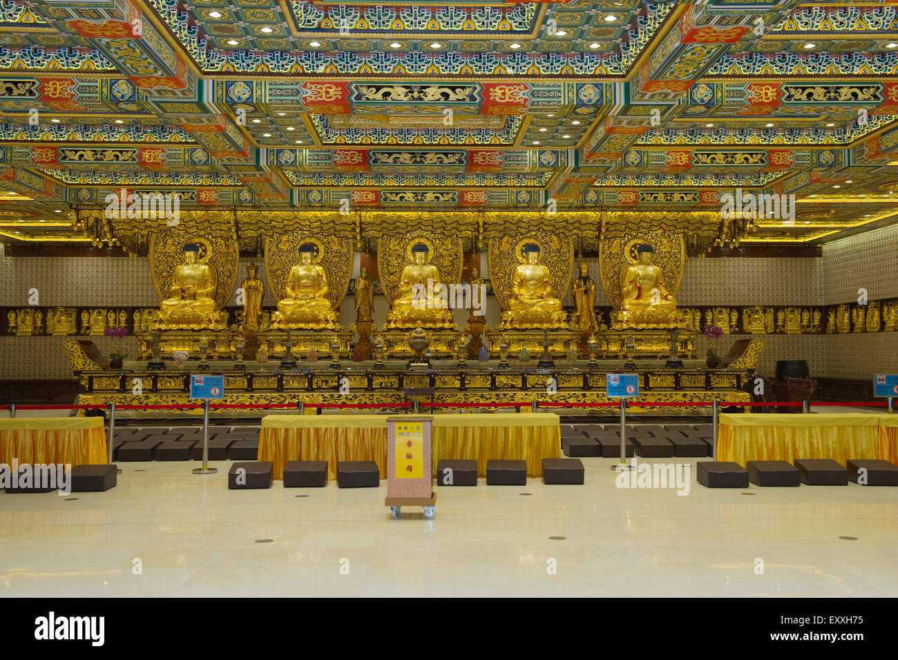 Grand Hall Of Ten Thousand Buddhas interior, Po Lin Monastery, Lantau Island Hong Kong, China - Stock Image