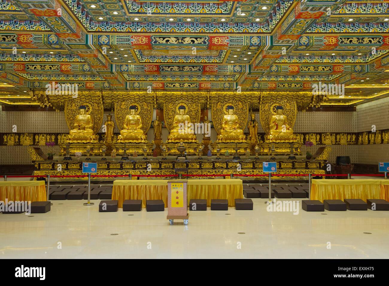 Grand Hall Of Ten Thousand Buddhas interior, Po Lin Monastery, Lantau Island Hong Kong, China Stock Photo