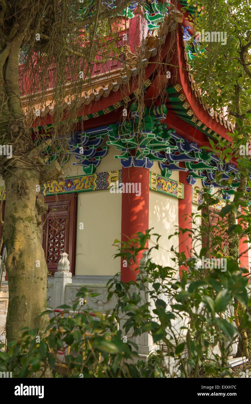 Corner of Temple structure on Ngong Ping Plateau, Lantau Island Hong Kong China - Stock Image