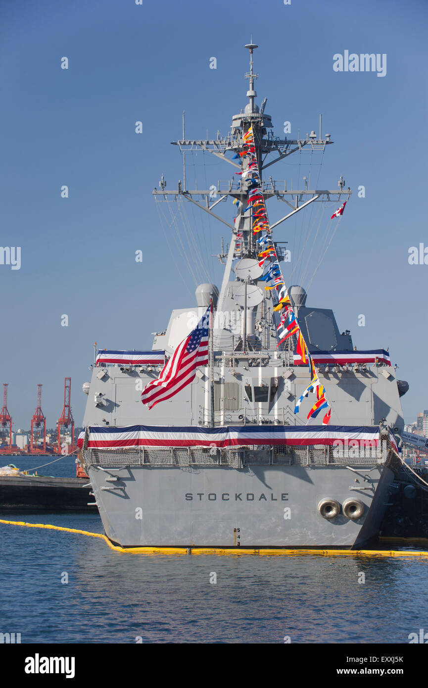 United States Guided Arleigh Burke-class missile destroyer, USS Stockdale (DDG-106) docked in Vancouver harbour Stock Photo