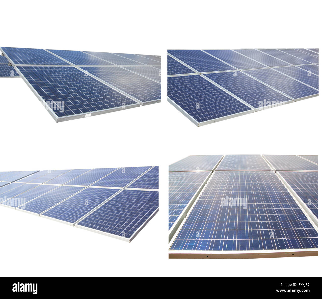Solar energy panels isolated on a white background. - Stock Image
