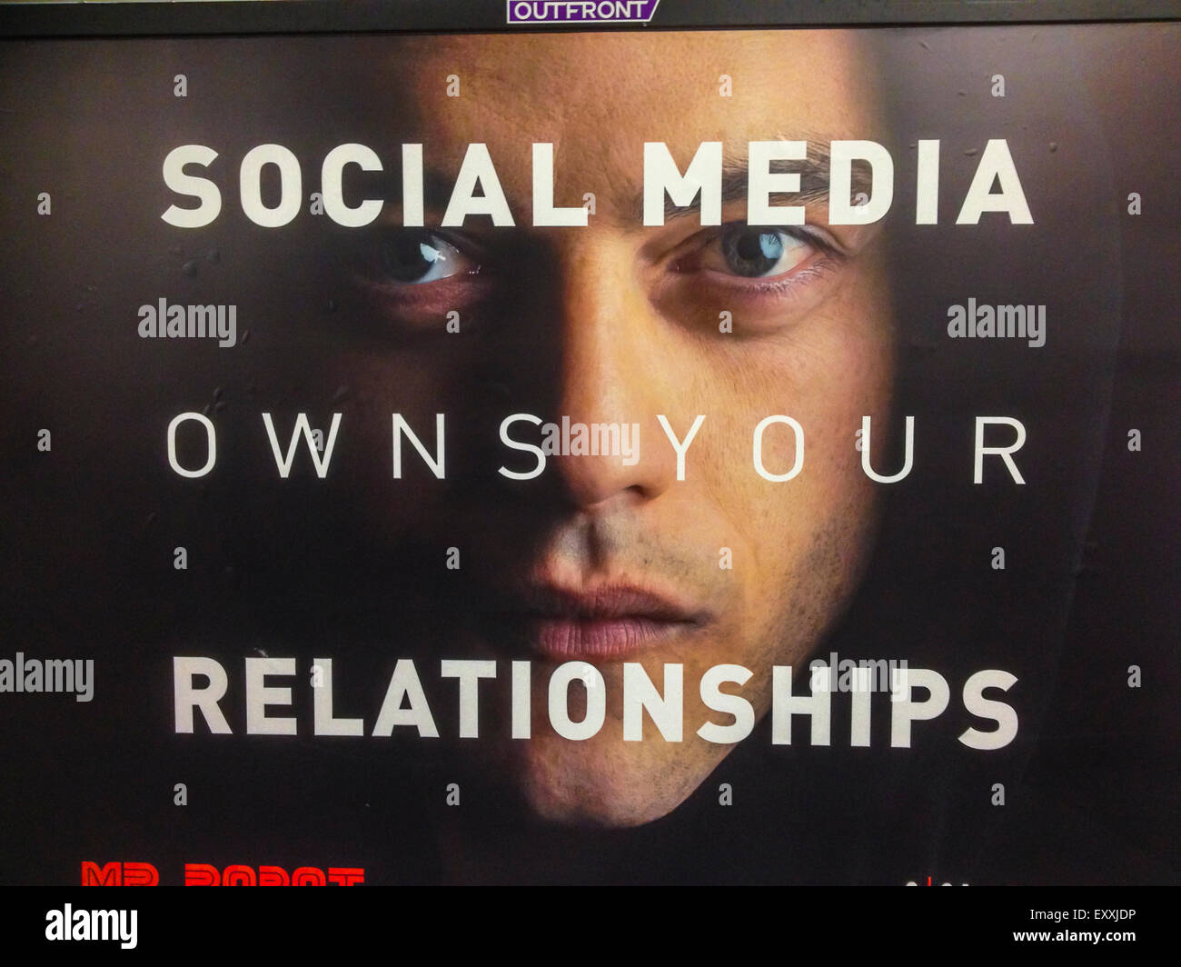 New York City, NY, USA , American Advertising Protest Poster in Subway, 'Social Media Owns Your Relationships' - Stock Image