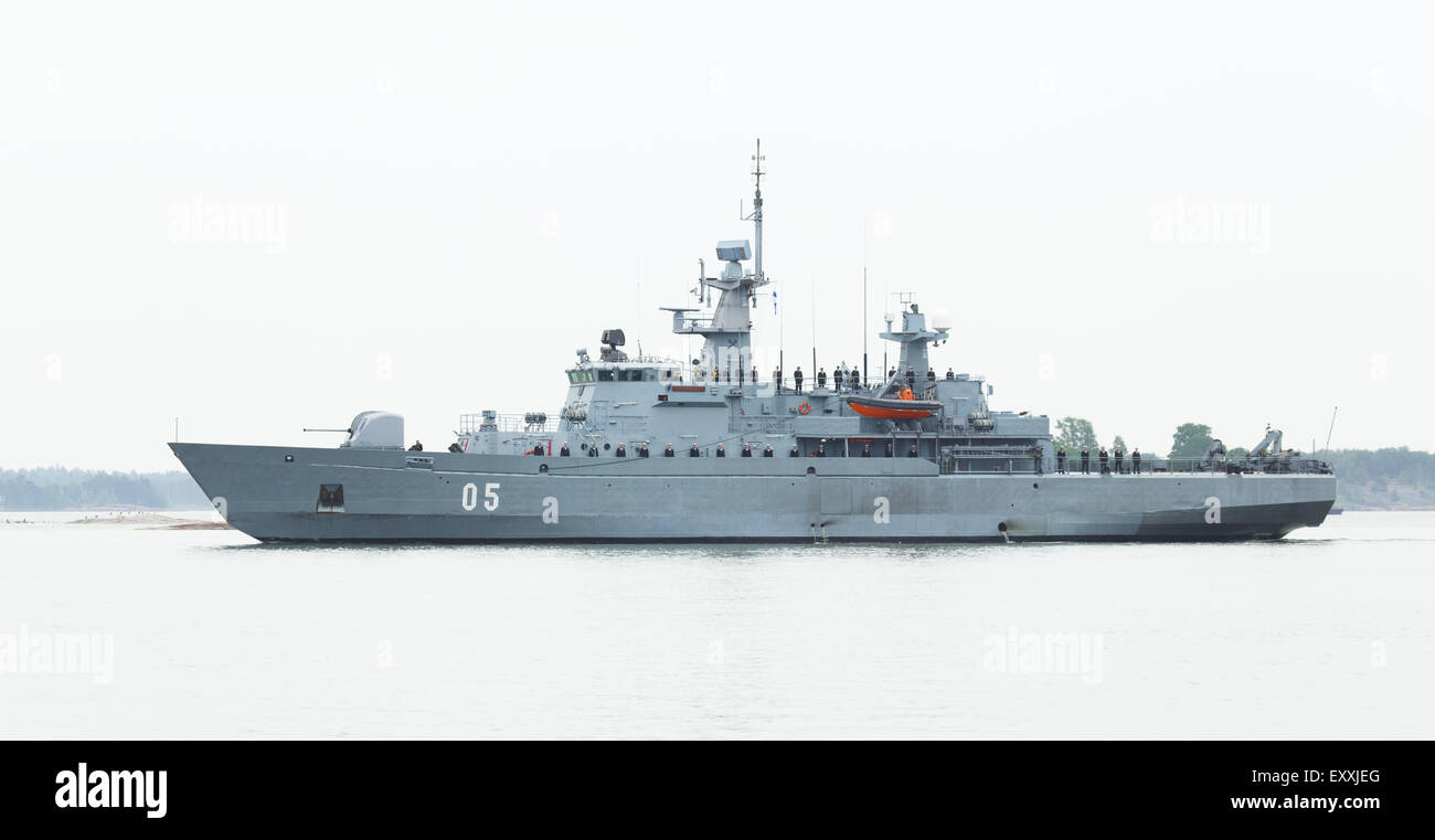 Minelayer FNS Uusimaa parading to participate in the Anniversary Day of the Finnish Navy at the South Harbor of - Stock Image