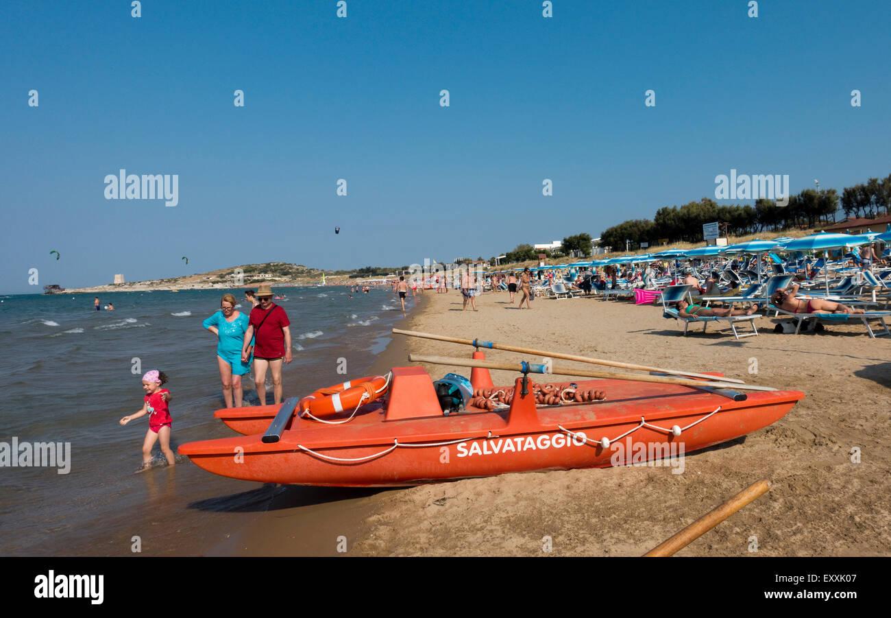 Beach Vieste, Puglia, Italy, EU - Stock Image