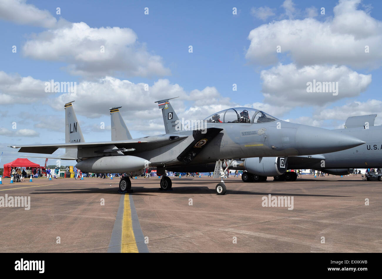 F-15C Eagle of the US Air Force on display at RIAT 2015, Fairford, UK. Credit:  Antony Nettle/Alamy Live News - Stock Image