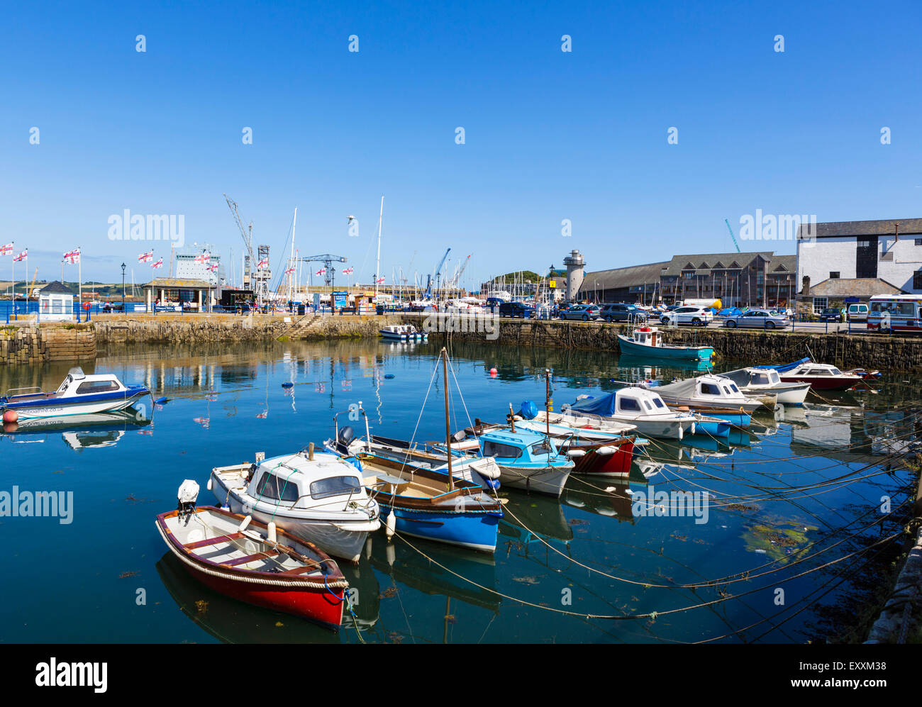 Boats in the harbour at Custom House Quay, Falmouth, Cornwall, England, UK - Stock Image