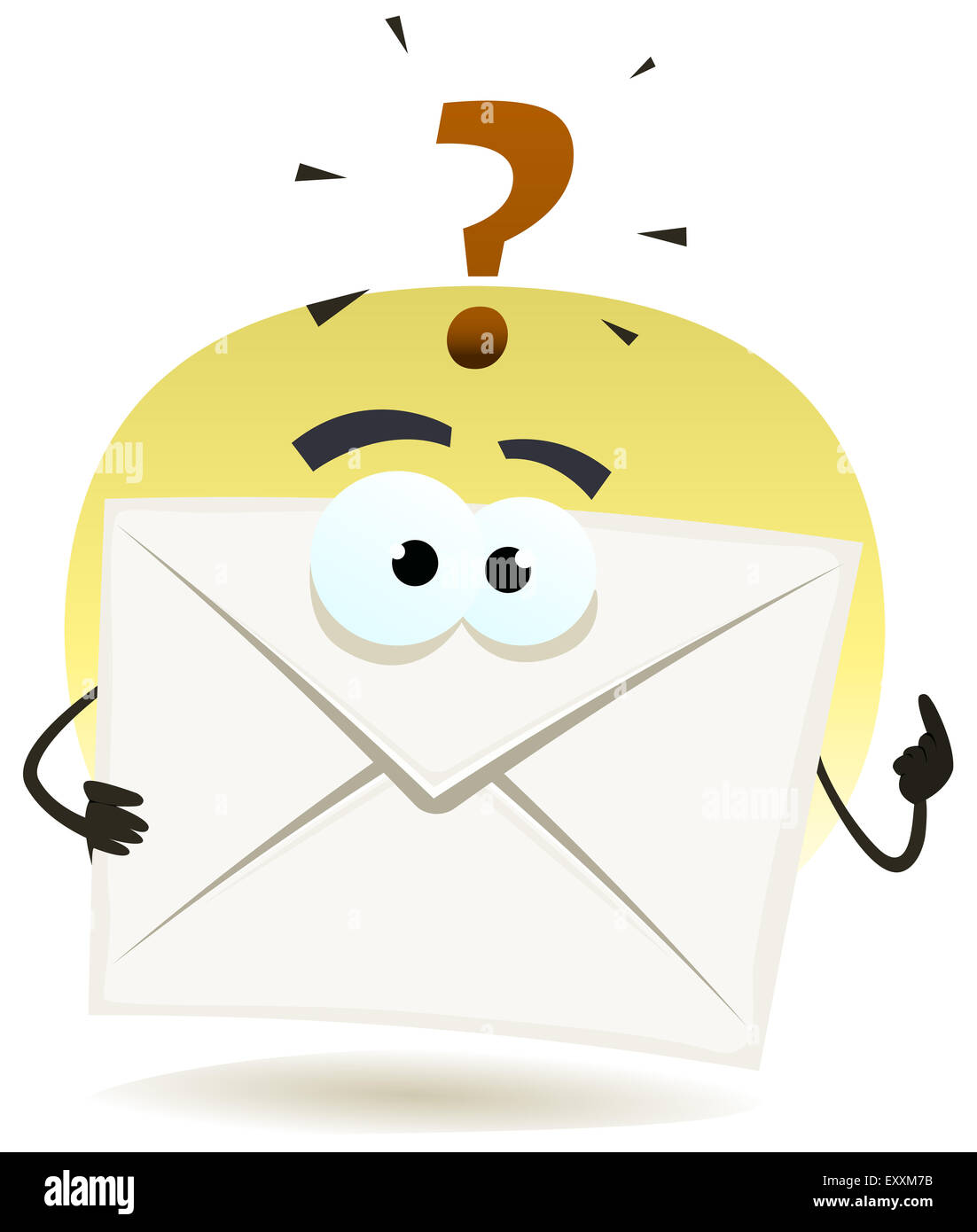 Illustration of a contact email icon envelope character asking question for support - Stock Image