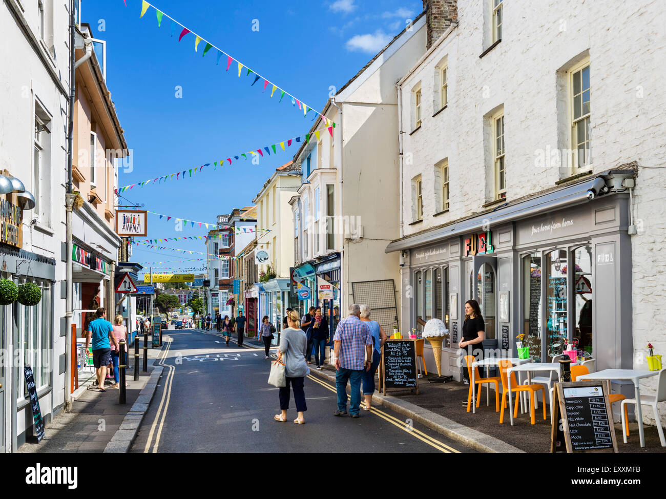 Shops on Arwenack Street in the town centre, Falmouth, Cornwall, England, UK - Stock Image