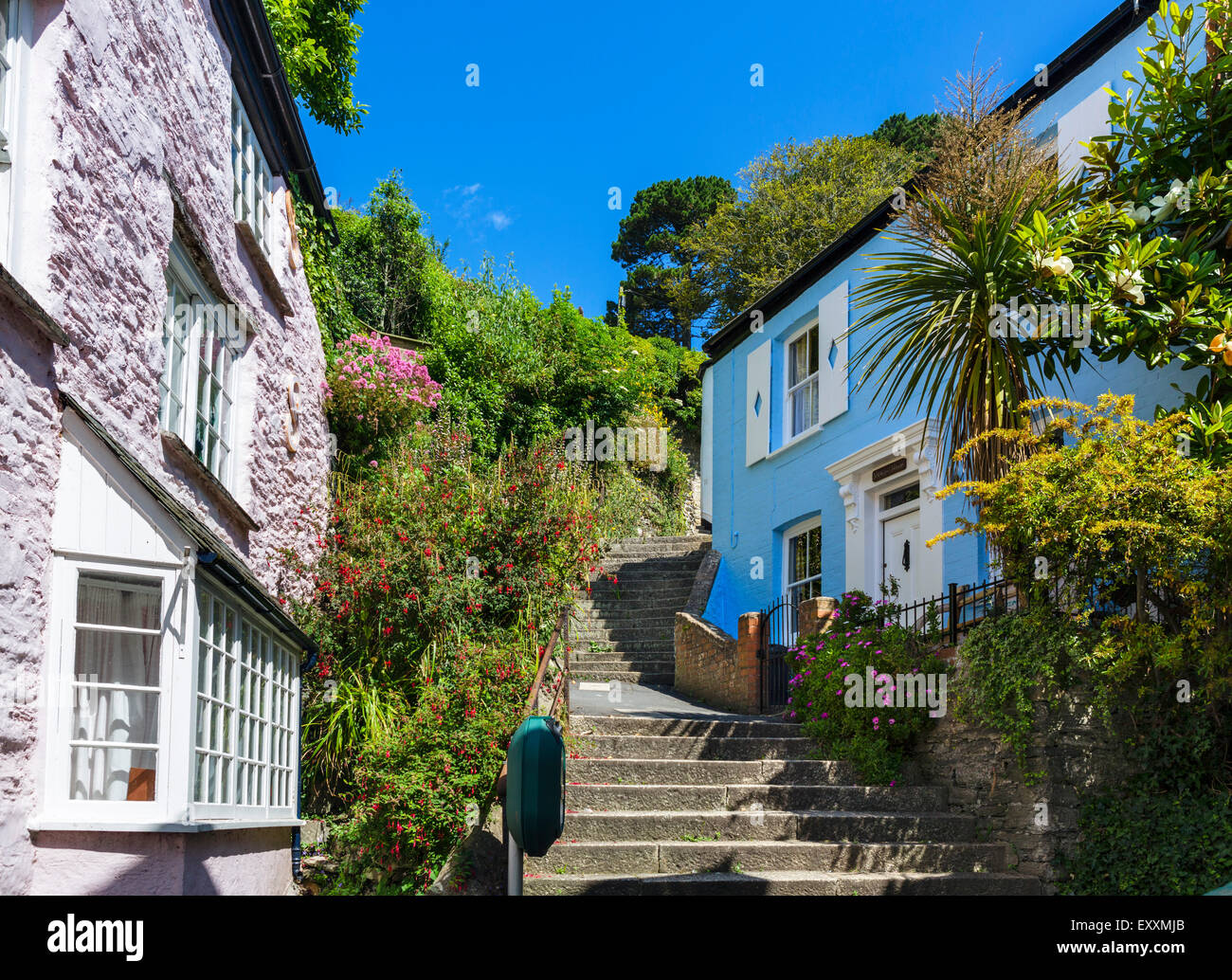 Traditional cottages just above the town centre, Fowey, Cornwall, England, UK - Stock Image