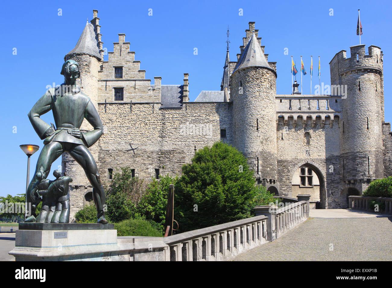 Het Steen (Antwerp Castle) in Antwerp, Belgium - Stock Image