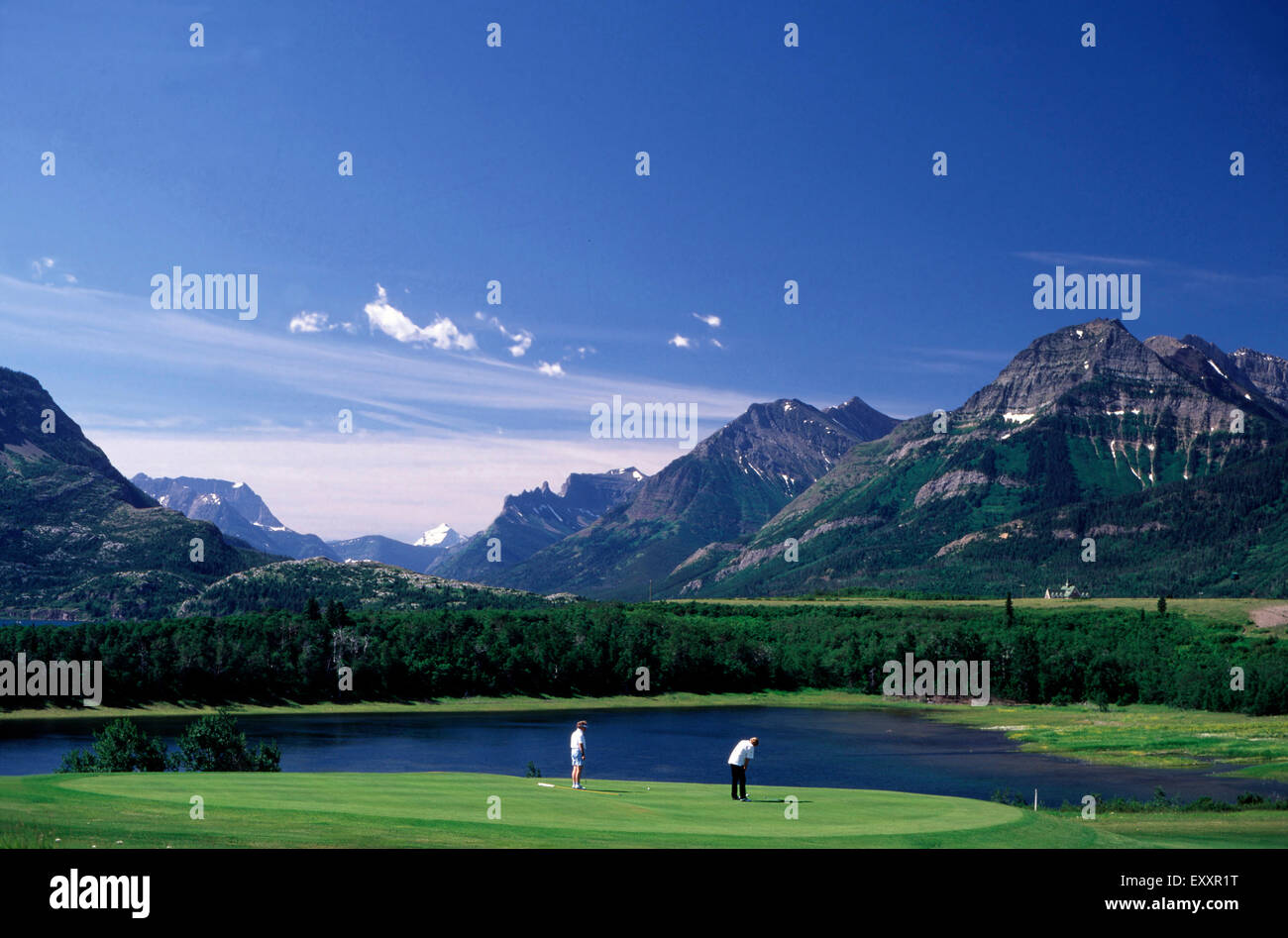 Golfing at the Prince of Wales Hotel,Waterton National Park,Alberta - Stock Image