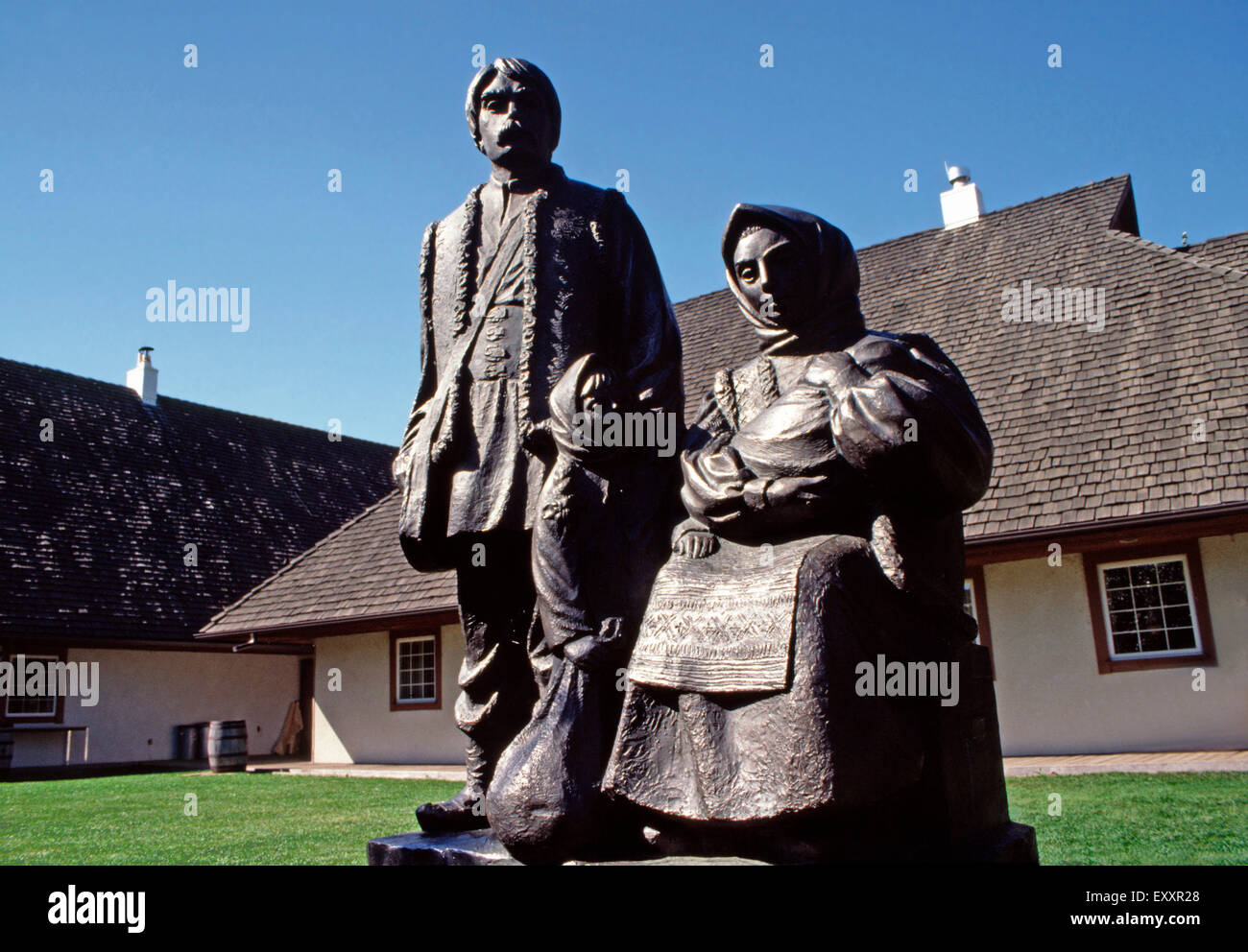 Historical bronze statue,Ukrainian Cultural Heritage Center,Edmonton,Alberta - Stock Image