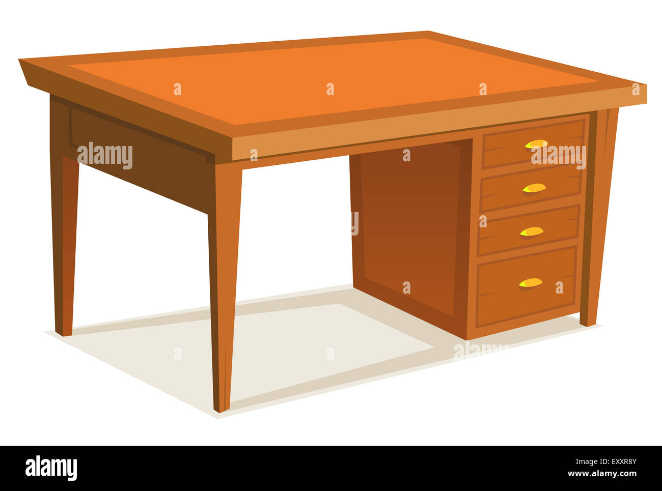 Illustration Of A Cartoon Wooden Office Desk Furniture With Drawer Stock Photo Alamy