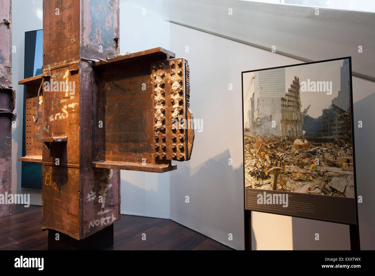 NEW YORK - May 30, 2015:  One of the architectural tridents from the World Trade Center sits on display at the National - Stock Image
