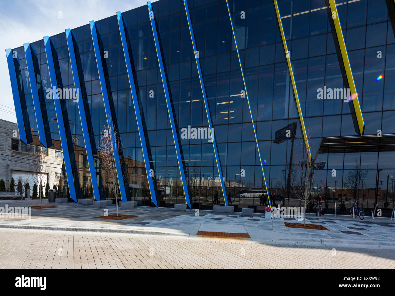 exterior, El Centro urban campus,  Northeastern Illinois University, Avondale, Chicago, Illinois, USA - Stock Image