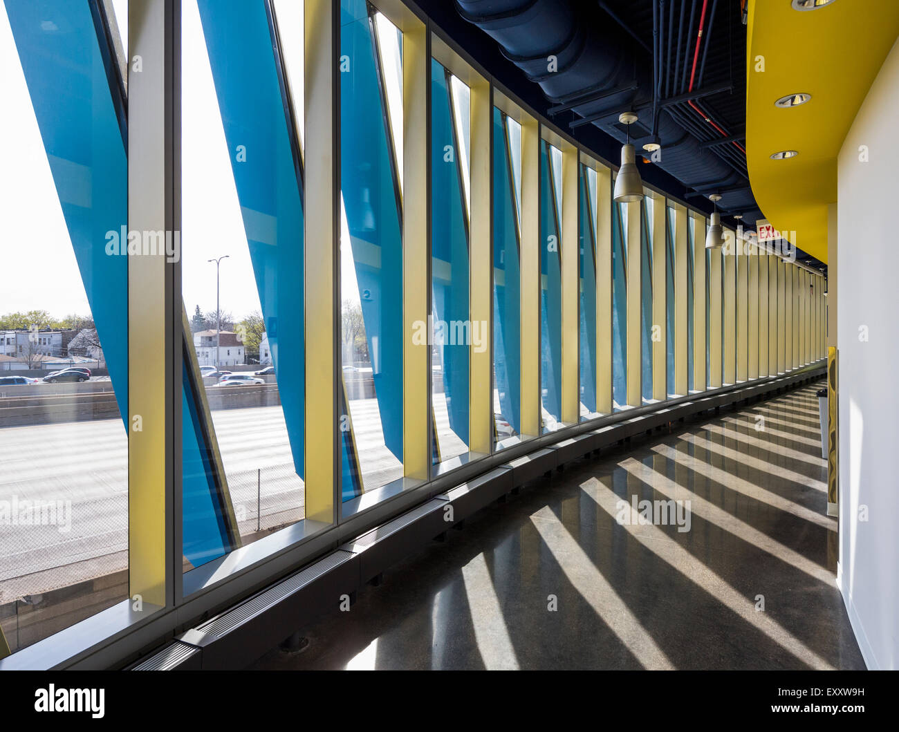 corridor, El Centro urban campus,  Northeastern Illinois University, Avondale, Chicago, Illinois, USA - Stock Image