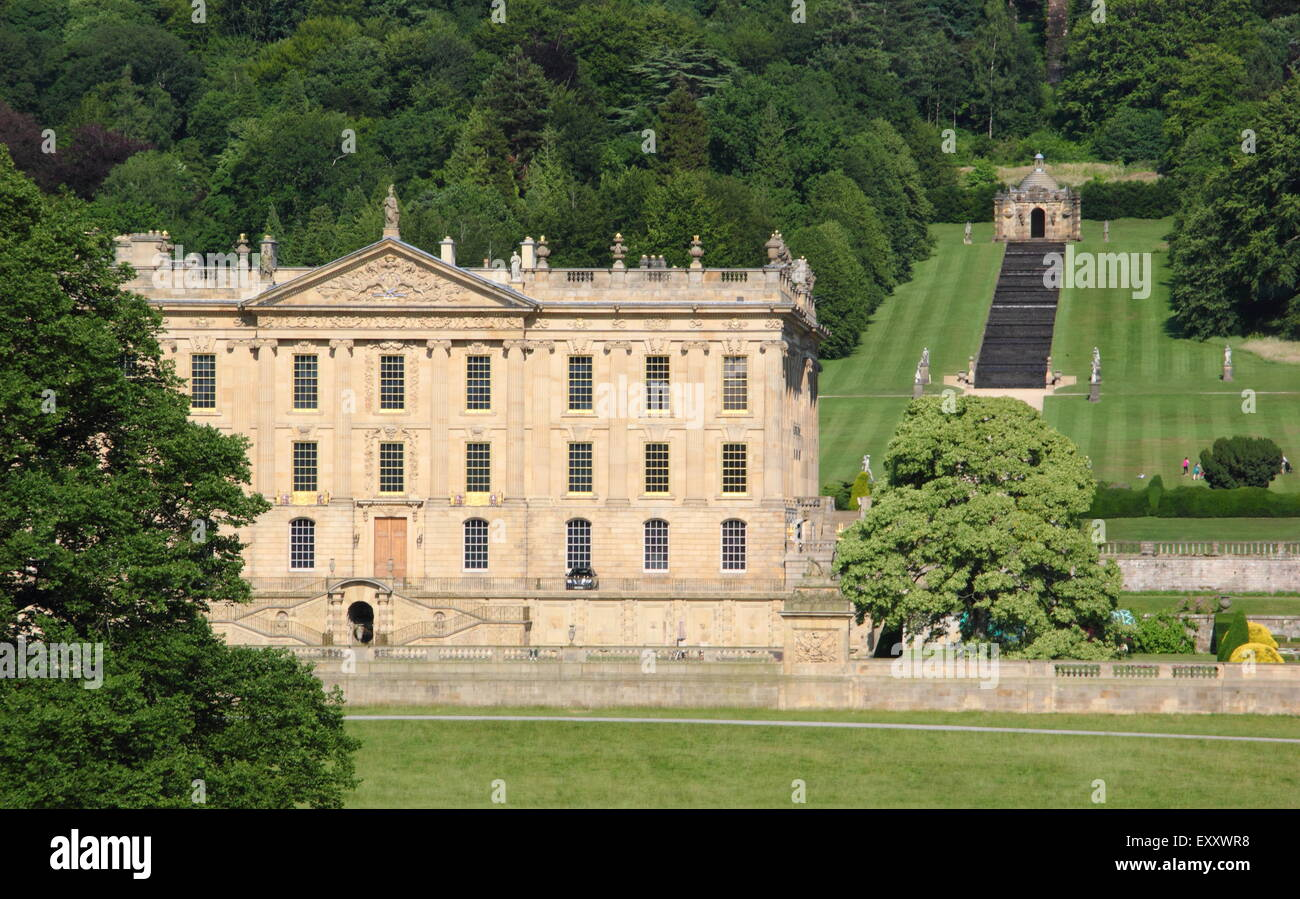 The Derbyshire stately home, Chatsworth house after its facelift, Peak District, Derbyshire England UK Stock Photo