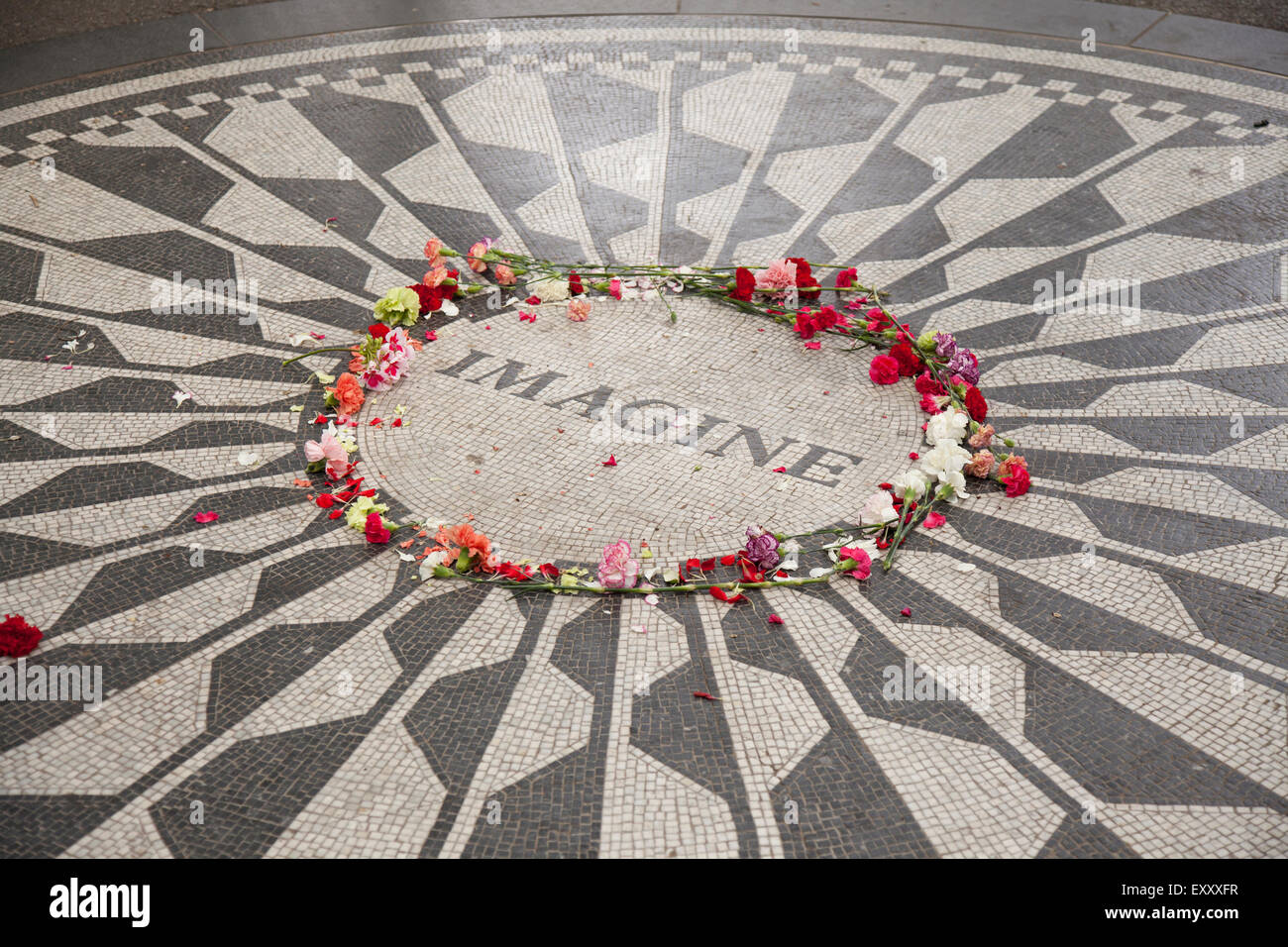 strawberry fields in central park new york city Stock Photo