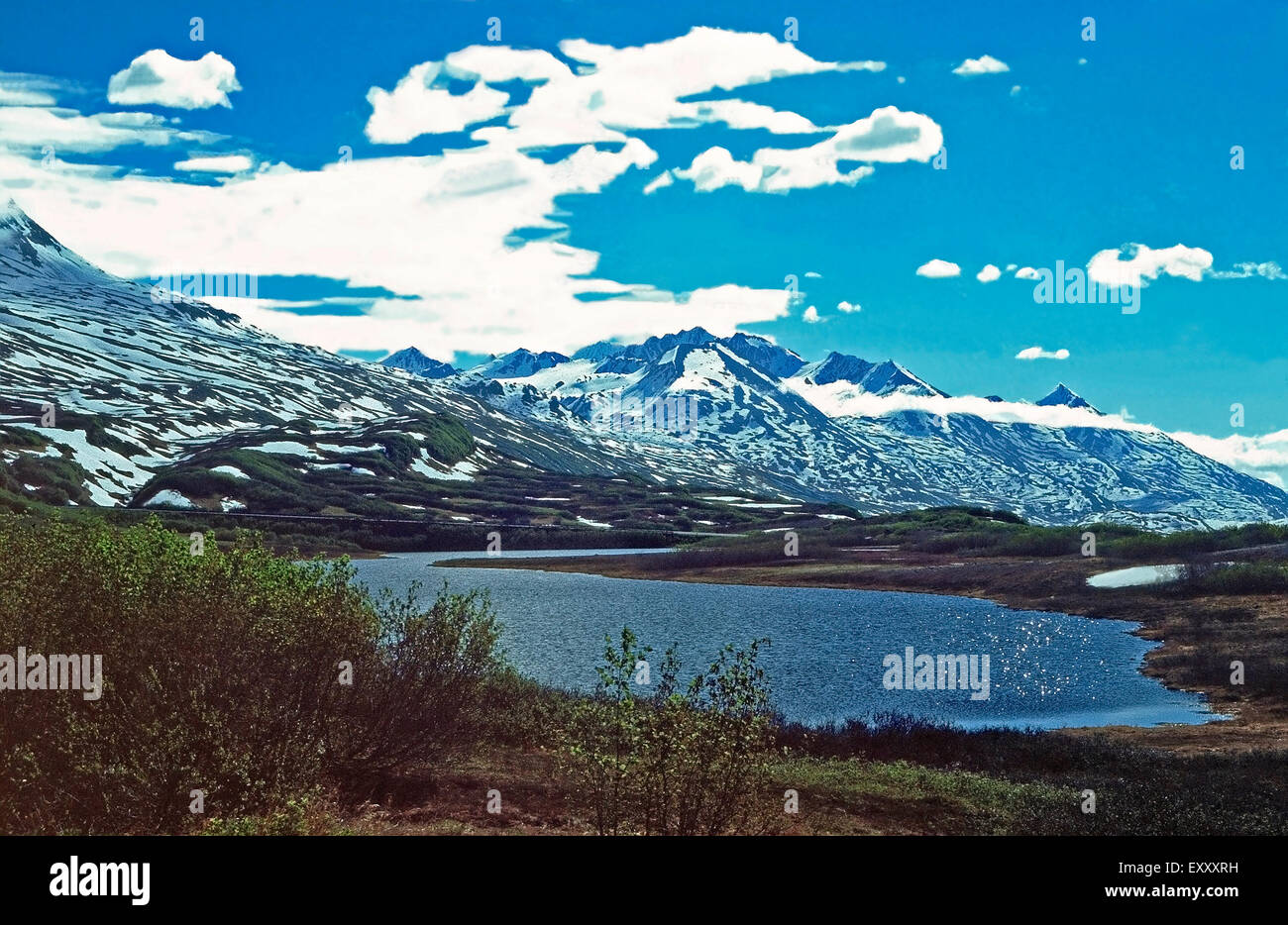 Blueberry Lake and the Chugach Mountains,Alaska - Stock Image