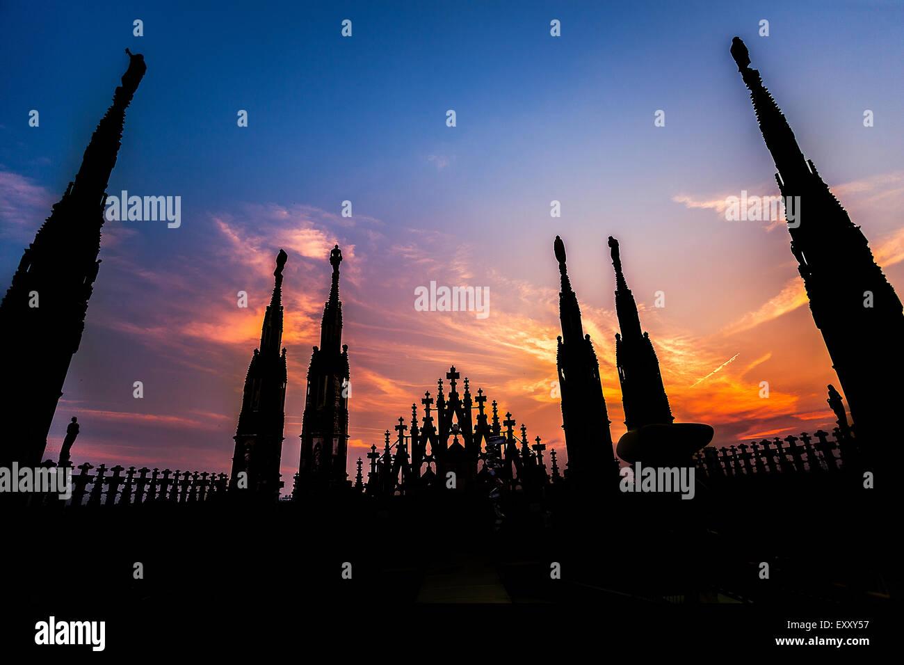 """Milan skyline from (""""Duomo di Milano""""). - Stock Image"""