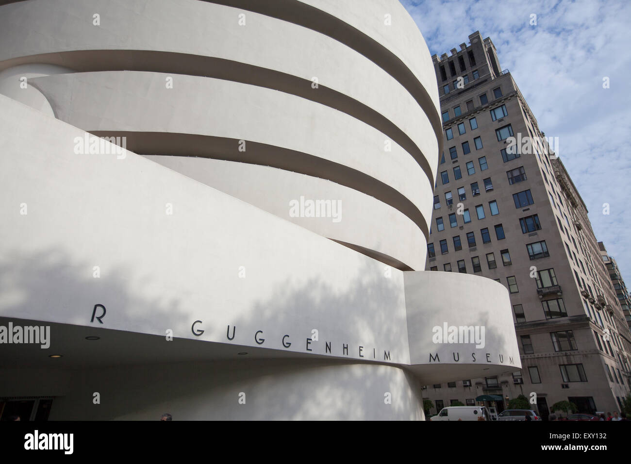 NEW YORK - May 27, 2015: The Solomon R. Guggenheim Museum, often referred to as The Guggenheim, is an art museum - Stock Image