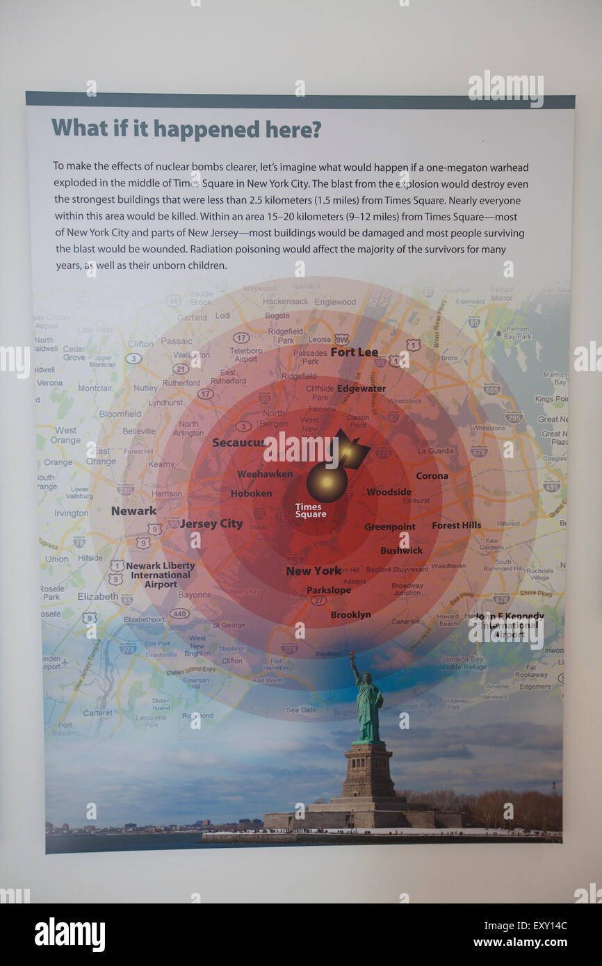 NEW YORK - May 27, 2015: Illustration of what would happen if a nuclear bomb were dropped on New York city, as found - Stock Image