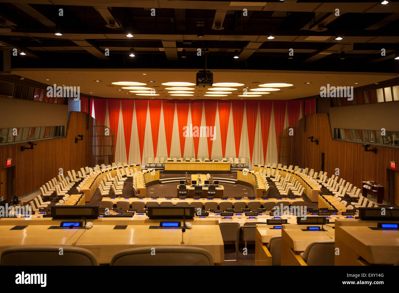 NEW YORK - May 27, 2015: The room of the United Nations Economic and Social Council. UN headquarters, New York Stock Photo