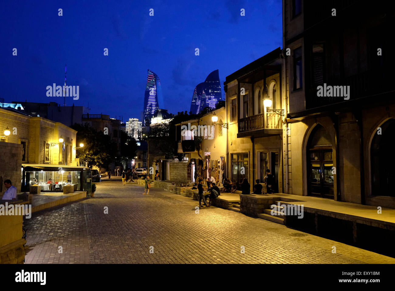 Street scene in Icheri Sheher which is the historical core of Baku listed in UNESCO World Heritage Site list in - Stock Image