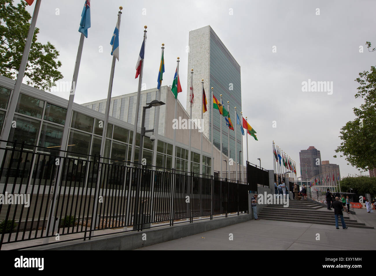 NEW YORK - May 27, 2015: The Headquarters of the United Nations is a complex in New York City. The complex has served as the off Stock Photo