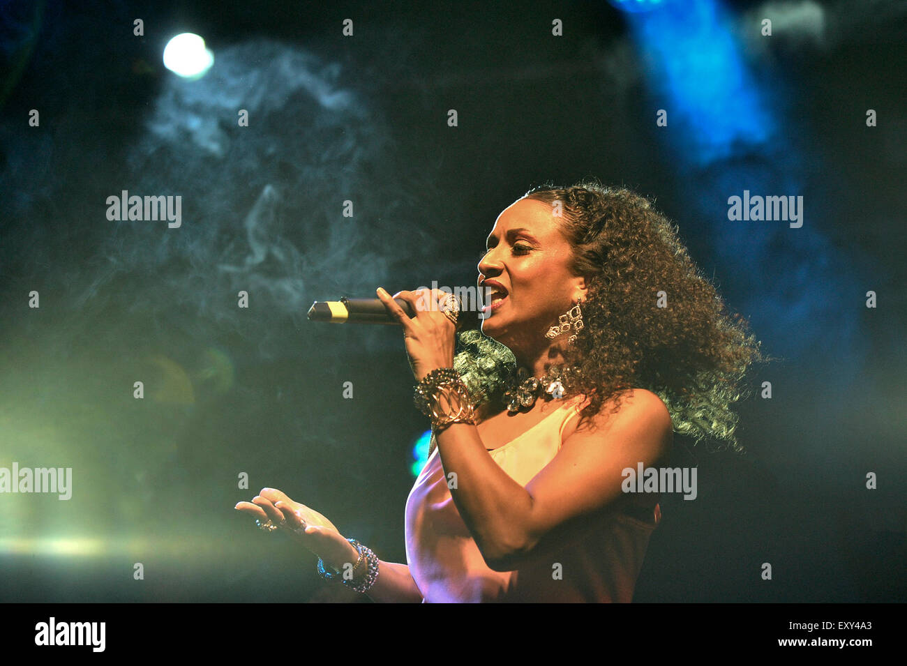 Brentwood, Essex.  17th July, 2015.  The glamorous and iconic Sister Sledge headlining at the Brentwood Festival. - Stock Image