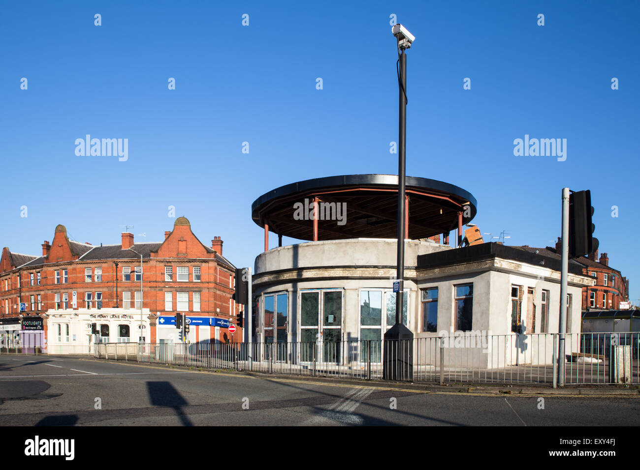 Liverpool, United Kingdom - October 12, 2014: View of famous roundabout bus station on Penny Lane in Liverpool, - Stock Image