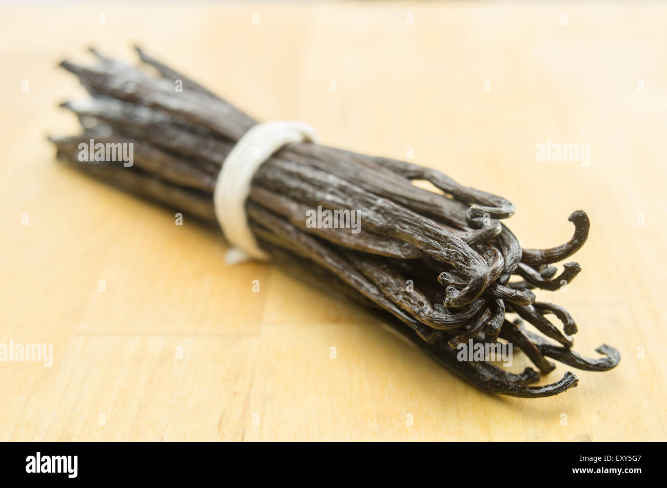 Selective focus  on the tips of a group of vanilla beans on a butcher block cutting board - Stock Image