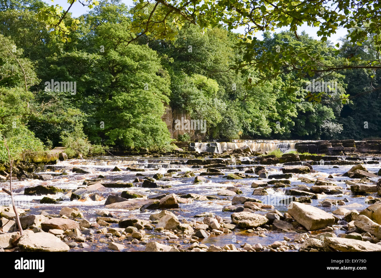 River Swale Waterfall at Richmond, North Yorkshire - Stock Image