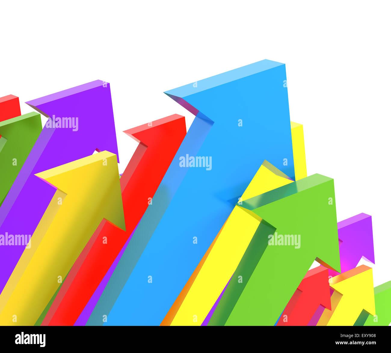 Groups of upward arrows, 3d render - Stock Image