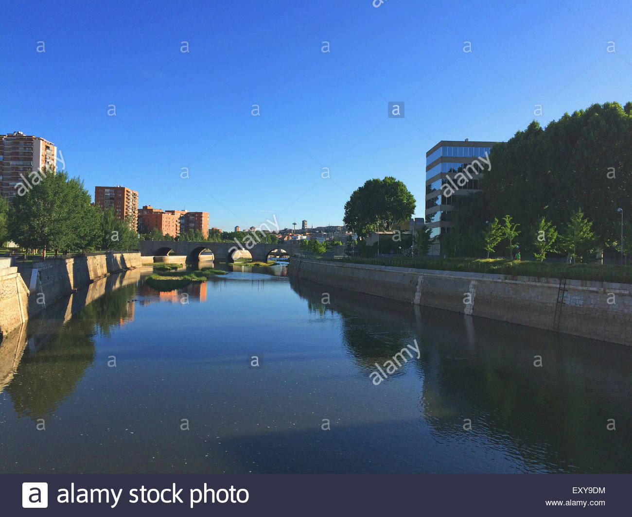 Segovia bridge over river Manzanares in the city of Madrid, Spain Stock Photo