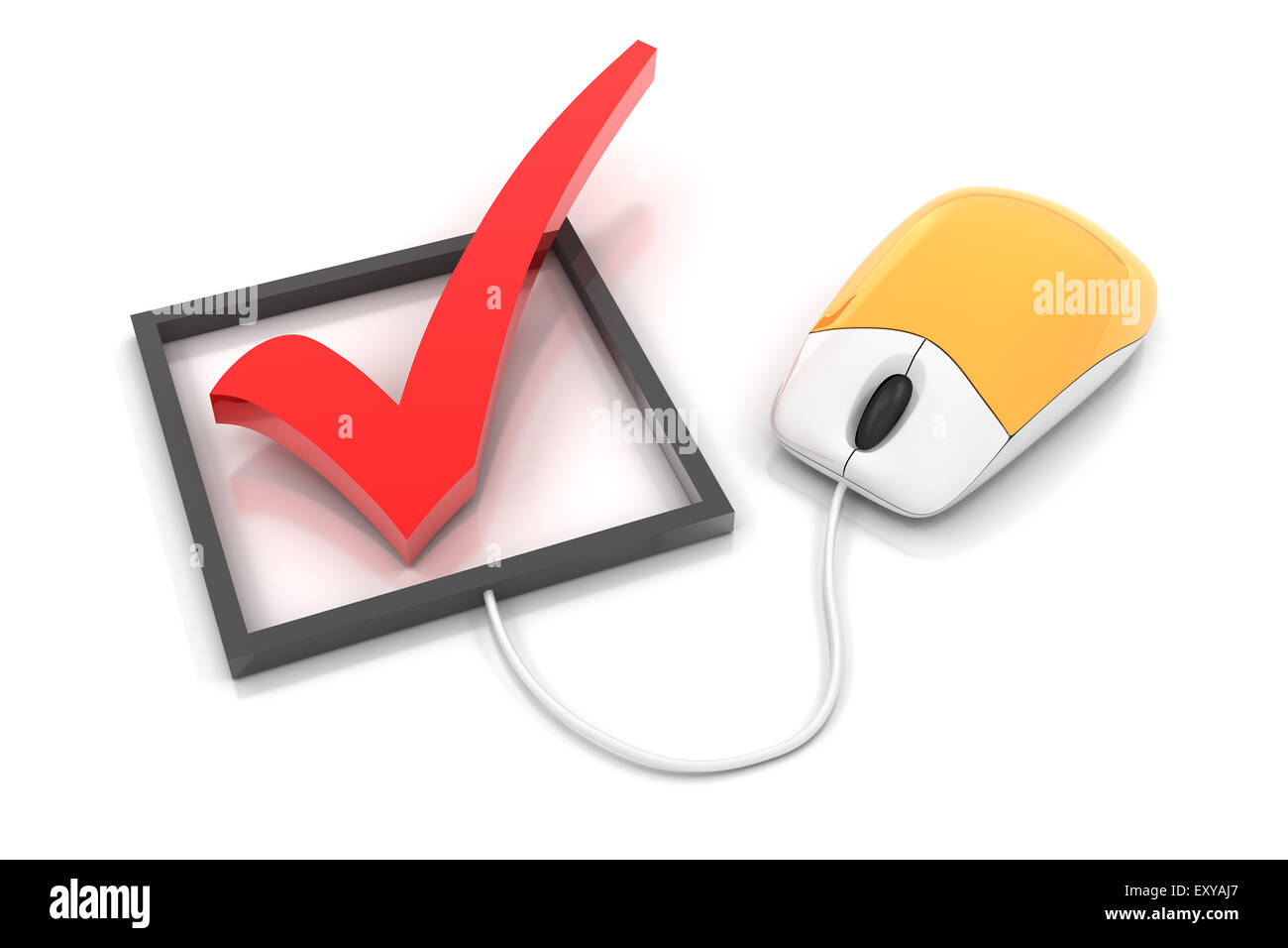 Checkbox with computer mouse, 3d render - Stock Image